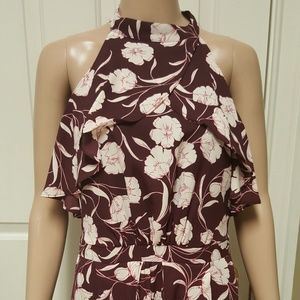 """Lauren Conrad"" high ruffled neck maxi dress"